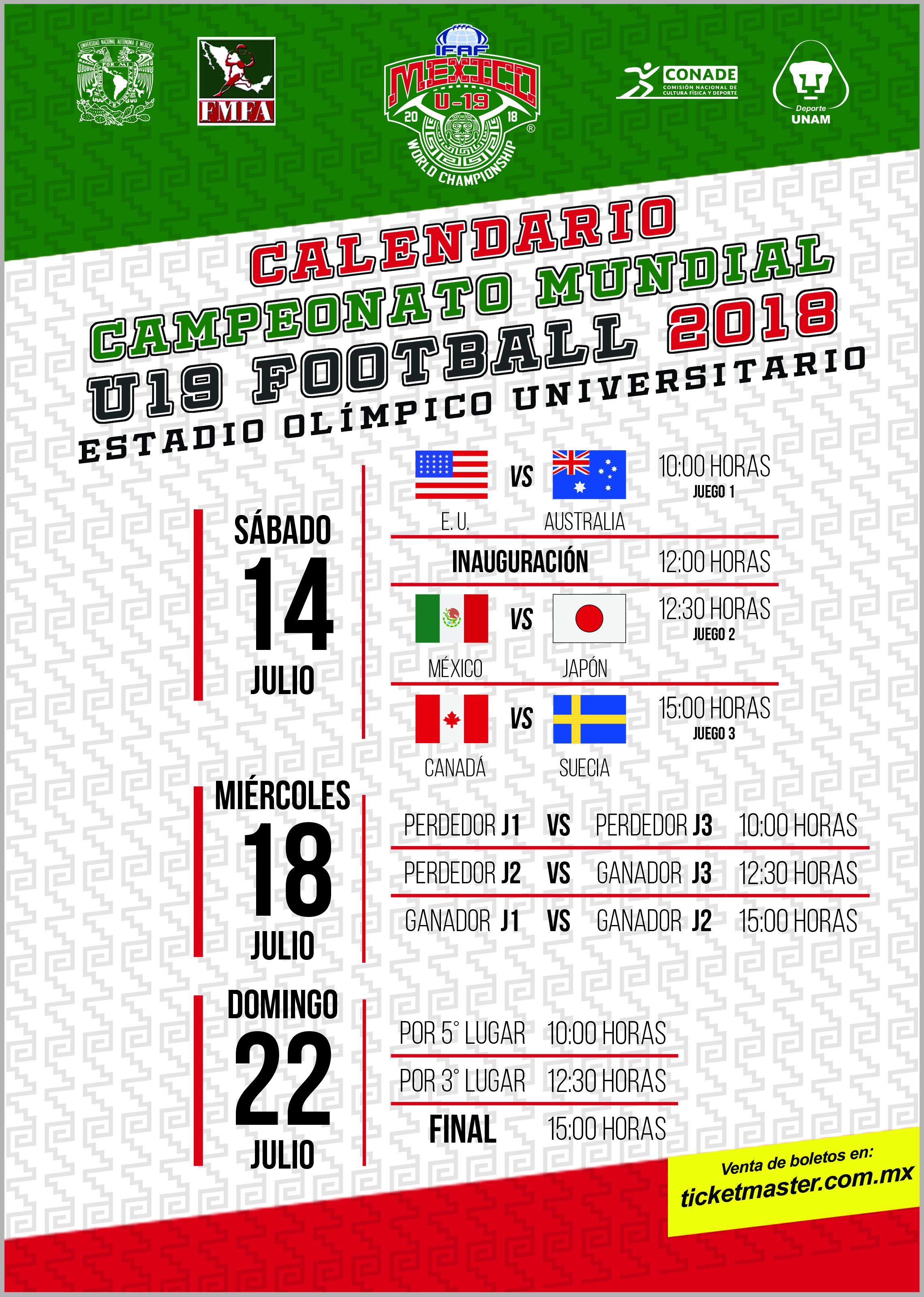 CALENDARIO MUNDIA U-19 2018